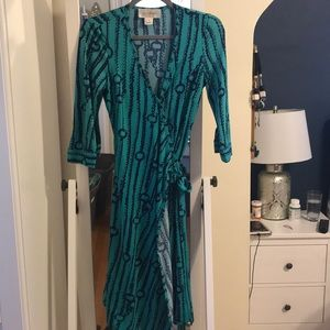 Vintage JB by Julie Brown wrap dress in turquoise